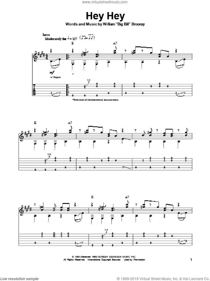Hey Hey sheet music for guitar (tablature, play-along) by Big Bill Broonzy and Eric Clapton. Score Image Preview.