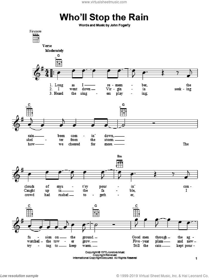 Who'll Stop The Rain sheet music for ukulele by John Fogerty, Miscellaneous and Creedence Clearwater Revival. Score Image Preview.