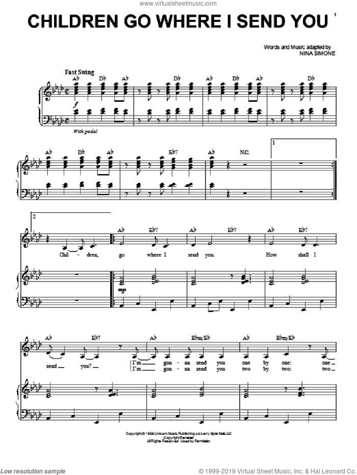 Children Go Where I Send You sheet music for voice and piano by Nina Simone. Score Image Preview.