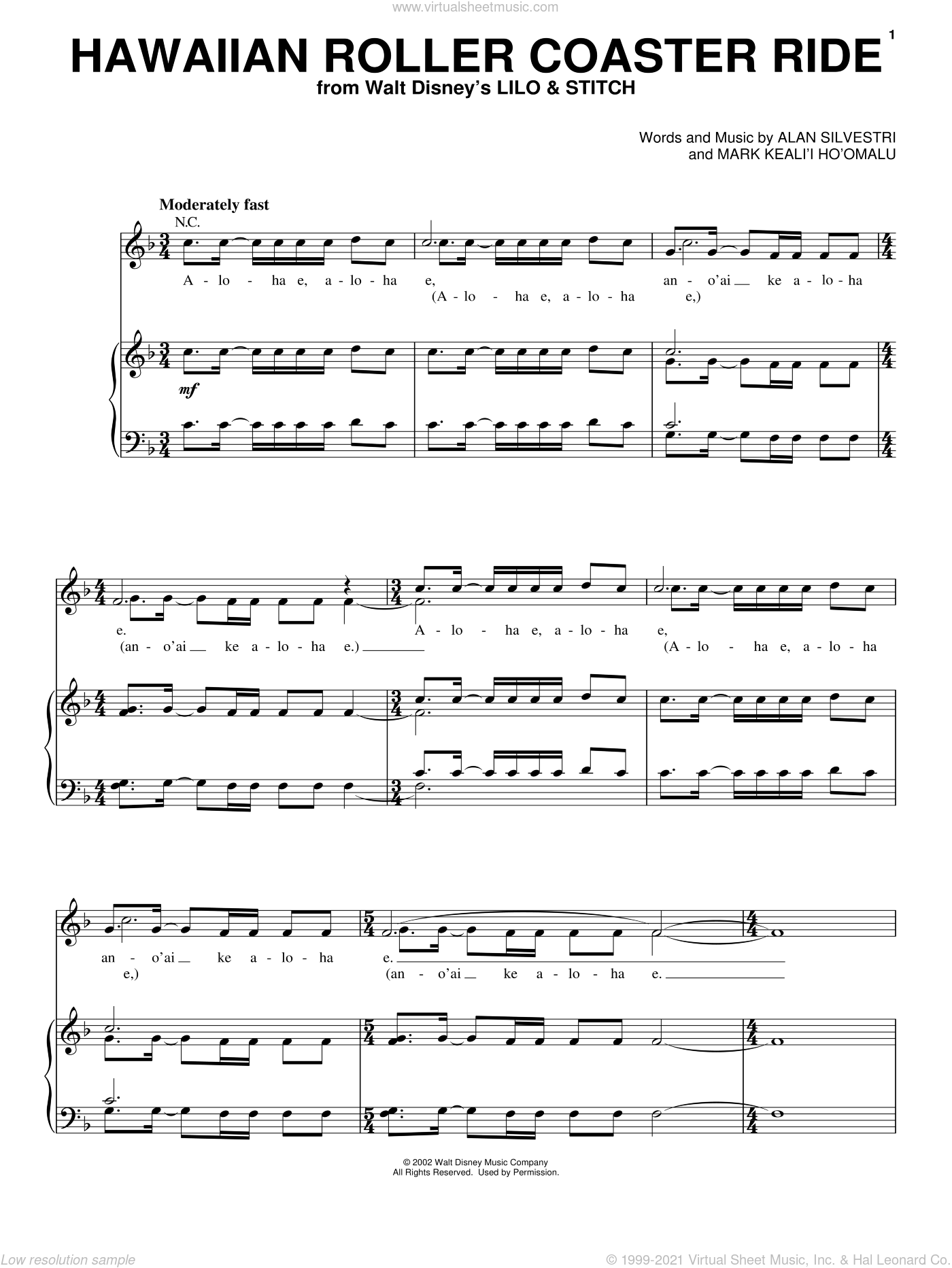 Hawaiian Roller Coaster Ride (from Lilo and Stitch) sheet music for voice, piano or guitar by Alan Silvestri and Lilo & Stitch (Movie), intermediate skill level