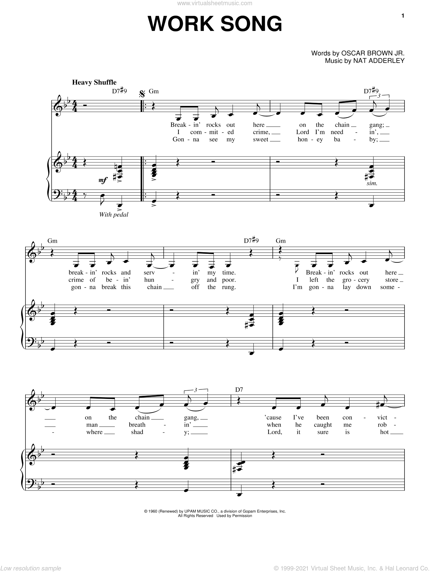 Work Song sheet music for voice and piano by Oscar Brown, Jr.