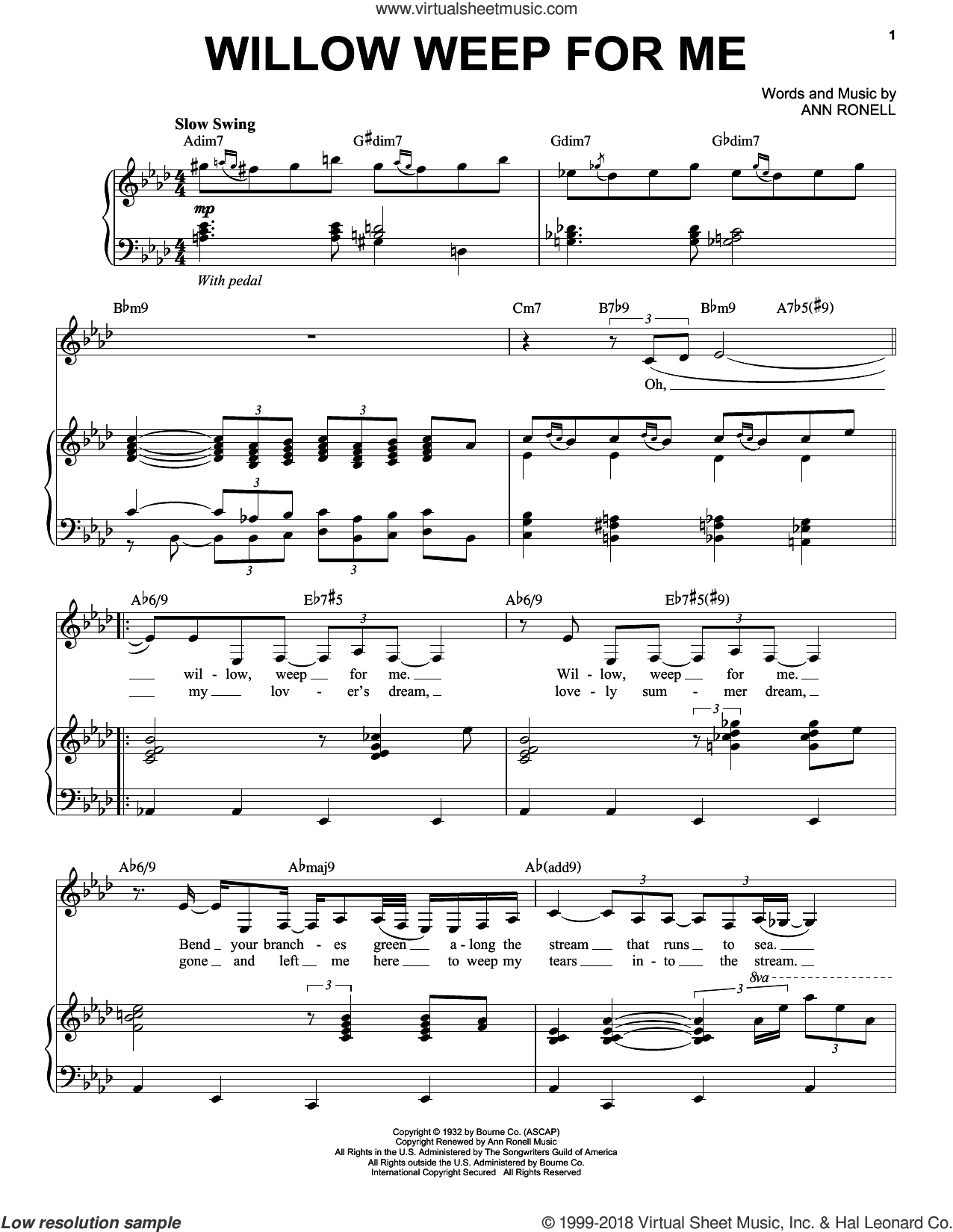 Willow Weep For Me sheet music for voice and piano by Nina Simone, Ann Ronell and Chad & Jeremy, intermediate skill level