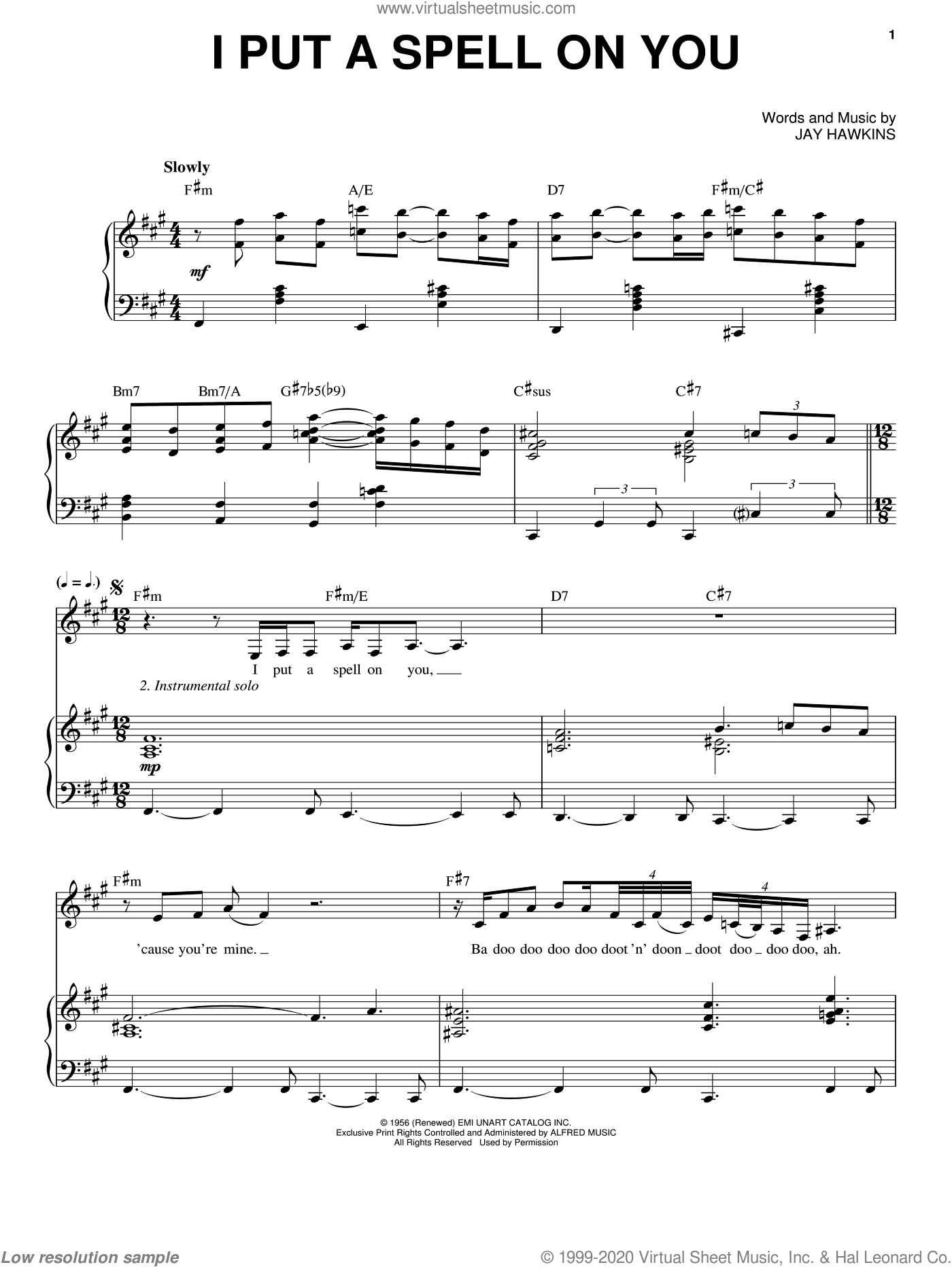 I Put A Spell On You sheet music for voice and piano by Nina Simone, Creedence Clearwater Revival and Jay Hawkins, intermediate. Score Image Preview.