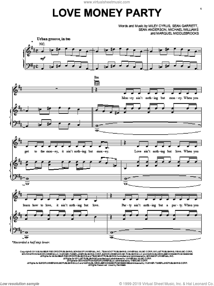 Love Money Party sheet music for voice, piano or guitar by Miley Cyrus, Marquell Middlebrooks, Michael Williams, Sean Anderson and Sean Garrett, intermediate skill level