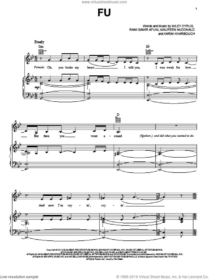 FU sheet music for voice, piano or guitar by Rami Samir Afuni, Maureen McDonald and Miley Cyrus. Score Image Preview.