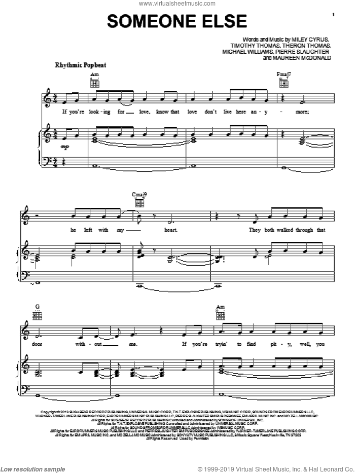 Someone Else sheet music for voice, piano or guitar by Miley Cyrus, Maureen McDonald, Michael Williams, Pierre Slaughter, Theron Thomas and Timmy Thomas, intermediate