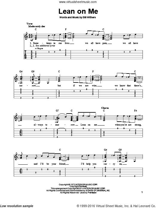 Lean On Me sheet music for guitar solo (easy tablature) by Bill Withers, easy guitar (easy tablature). Score Image Preview.