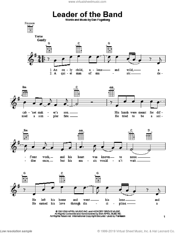 Leader Of The Band sheet music for ukulele by Dan Fogelberg. Score Image Preview.