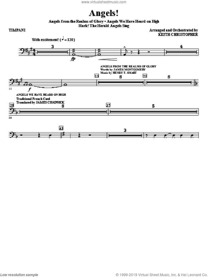 Angels! (Medley) (complete set of parts) sheet music for orchestra/band (Orchestra) by Keith Christopher, Henry T. Smart and James Montgomery, classical score, intermediate