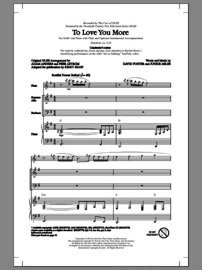To Love You More sheet music for choir (SAB) by Kirby Shaw, Celine Dion, David Foster, Glee Cast and Junior Miles, intermediate choir (SAB). Score Image Preview.