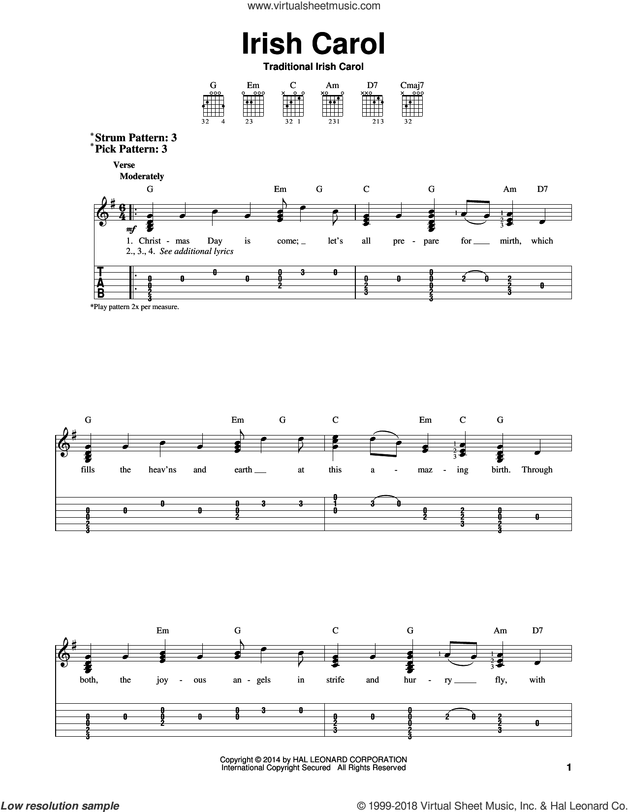 Irish Carol sheet music for guitar solo (easy tablature), easy guitar (easy tablature). Score Image Preview.