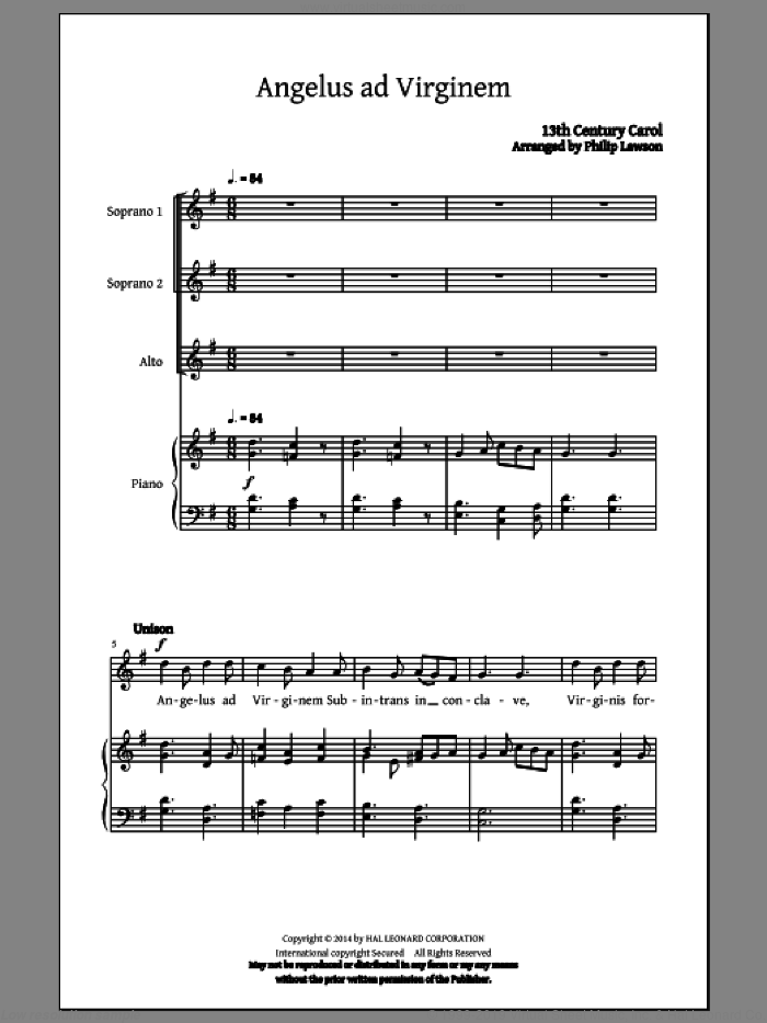 Personent Hodie sheet music for choir (soprano voice, alto voice, choir) by Philip Lawson. Score Image Preview.