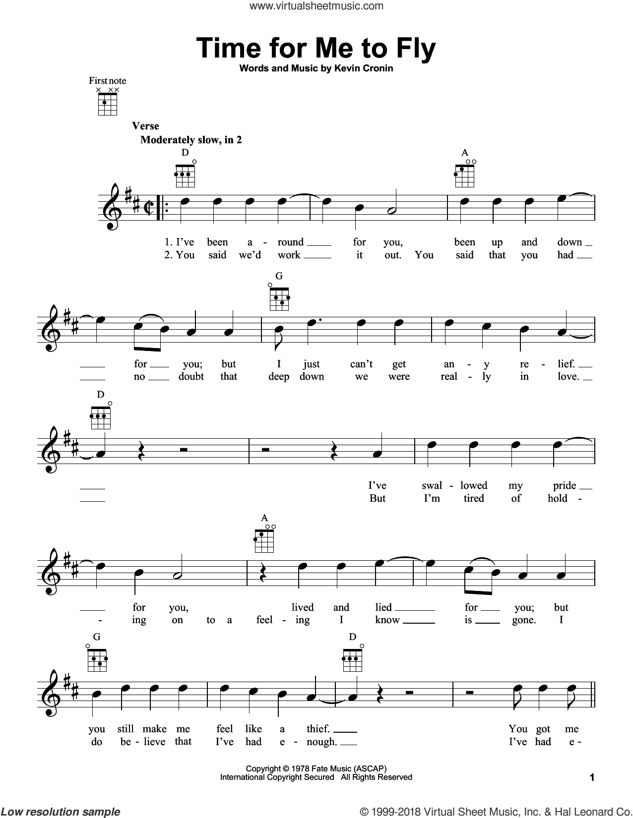 Time For Me To Fly sheet music for ukulele by REO Speedwagon and Kevin Cronin, intermediate skill level