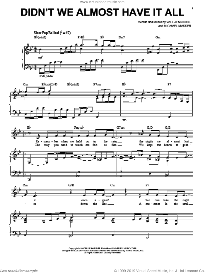 Didn't We Almost Have It All sheet music for voice and piano by Whitney Houston, Michael Masser and Will Jennings, intermediate voice. Score Image Preview.