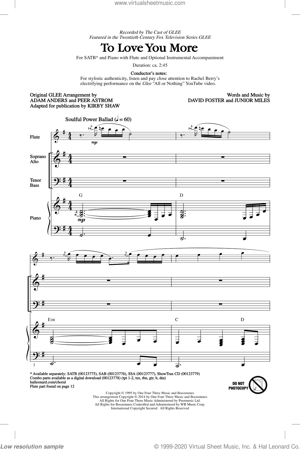 To Love You More sheet music for choir (SATB) by Kirby Shaw, Celine Dion, David Foster, Glee Cast and Junior Miles. Score Image Preview.