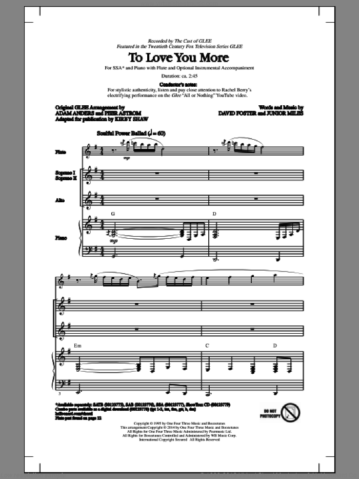 To Love You More sheet music for choir and piano (SSA) by Junior Miles