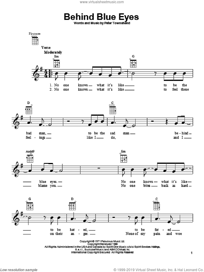 Behind Blue Eyes sheet music for ukulele by The Who, Limp Bizkit and Pete Townshend. Score Image Preview.