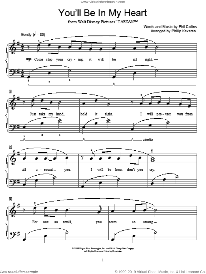 You'll Be In My Heart sheet music for piano solo (elementary) by Phil Collins, Phillip Keveren and Miscellaneous. Score Image Preview.