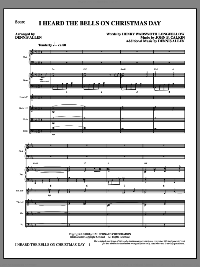 I Heard the Bells on Christmas Day (COMPLETE) sheet music for orchestra/band by Henry Wadsworth Longfellow and Dennis Allen, intermediate