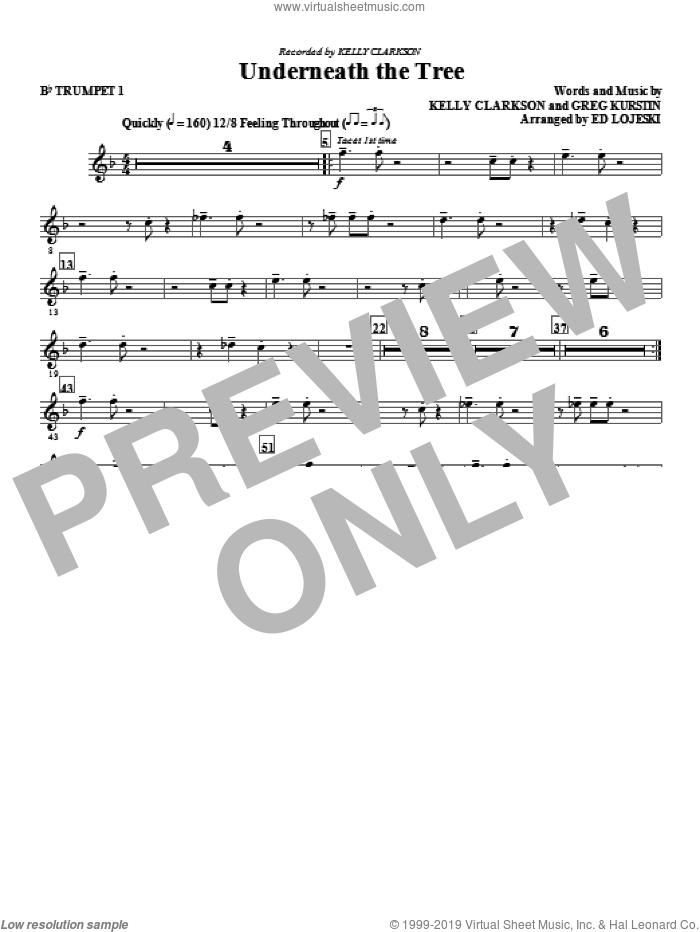 Underneath the Tree (complete set of parts) sheet music for orchestra/band by Ed Lojeski, Greg Kurstin and Kelly Clarkson, intermediate skill level