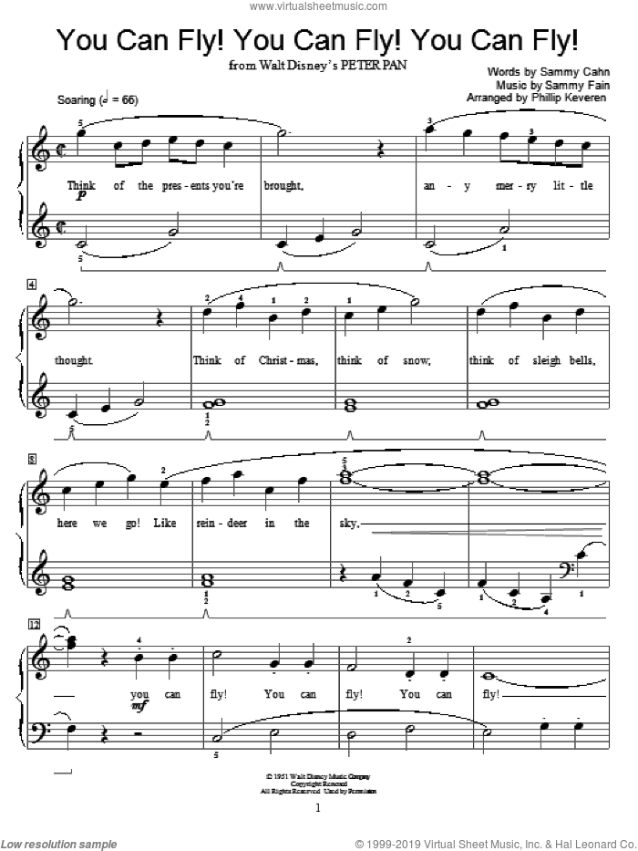 You Can Fly! You Can Fly! You Can Fly! sheet music for piano solo (elementary) by Sammy Cahn, Phillip Keveren, Miscellaneous and Sammy Fain, beginner piano (elementary)