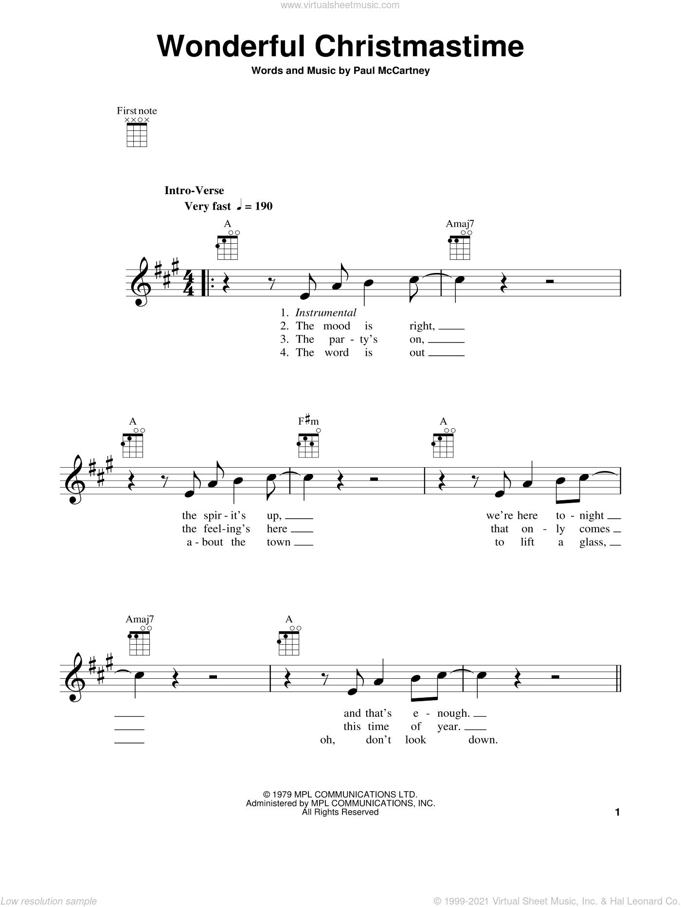 Wonderful Christmastime sheet music for ukulele by Paul McCartney and Straight No Chaser featuring Paul McCartney, intermediate skill level