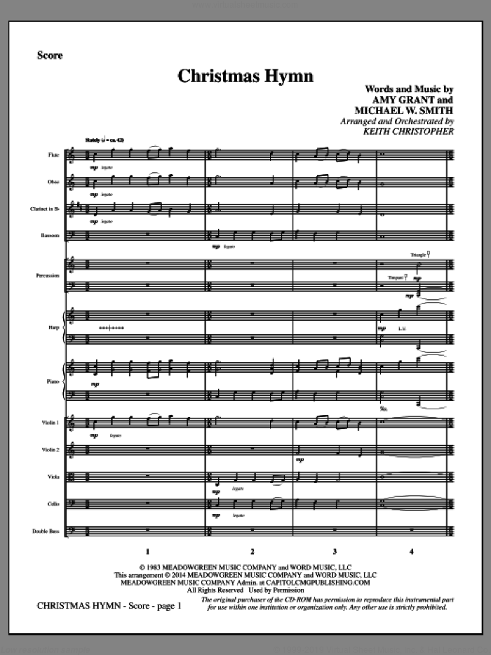 Christmas Hymn (COMPLETE) sheet music for orchestra/band by Michael W. Smith, Amy Grant and Keith Christopher, intermediate. Score Image Preview.