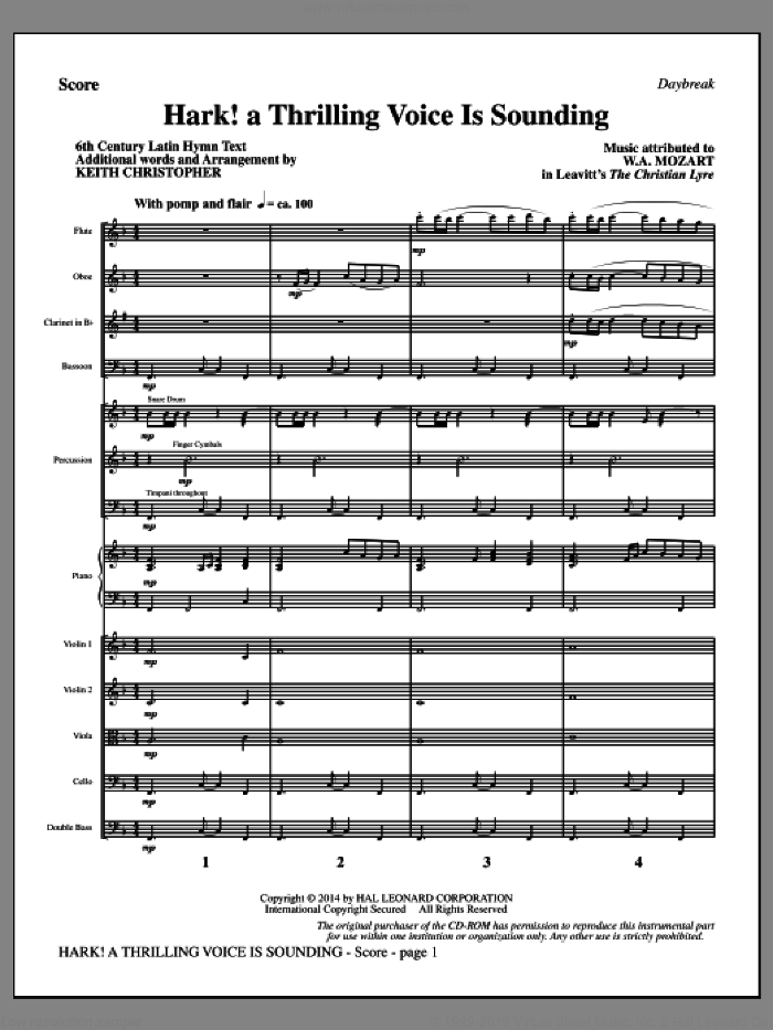Hark! A Thrilling Voice Is Sounding (COMPLETE) sheet music for orchestra/band by Keith Christopher, 6th Century Latin and Wolfgang A. Mozart, intermediate skill level