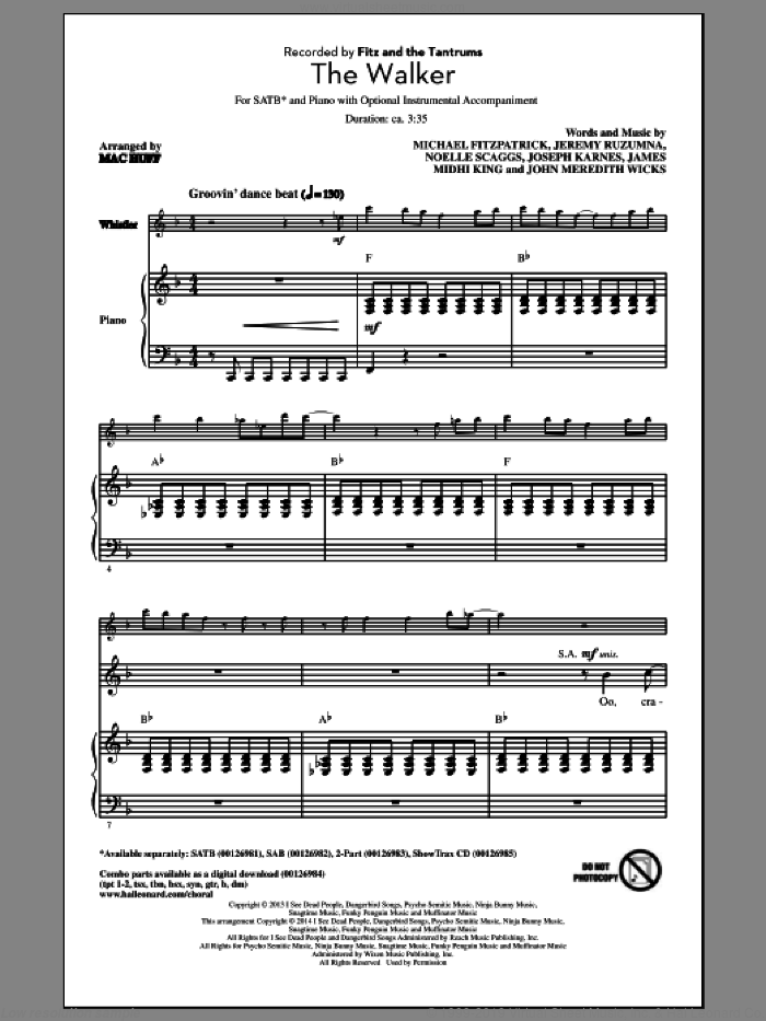 The Walker sheet music for choir and piano (SATB) by Noelle Scaggs