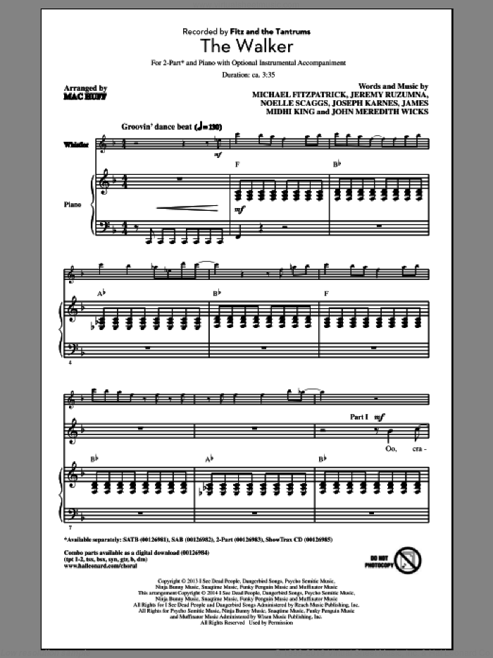 The Walker sheet music for choir (2-Part) by Mac Huff, Fitz And The Tantrums, James Midhi King, Jeremy Ruzumna, John Meredith Wicks, Joseph Karnes, Michael Fitzpatrick and Noelle Scaggs, intermediate duet. Score Image Preview.
