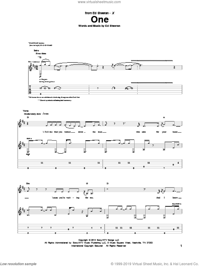 One sheet music for guitar (tablature) by Ed Sheeran. Score Image Preview.