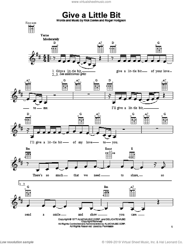 Give A Little Bit sheet music for ukulele by Supertramp, Goo Goo Dolls, Rick Davies and Roger Hodgson, intermediate skill level