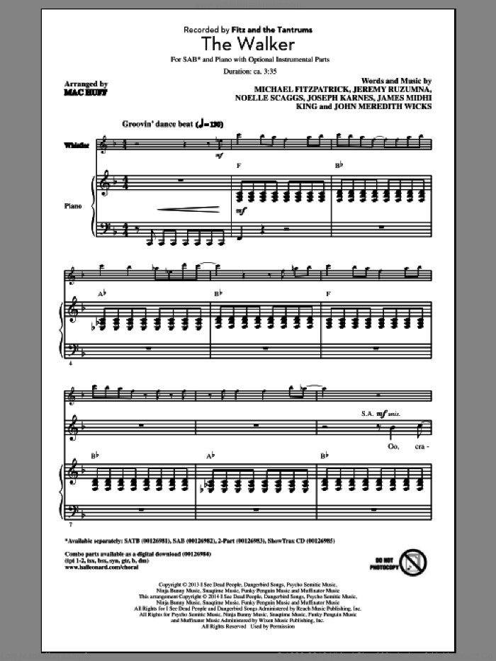 The Walker sheet music for choir (SAB) by Noelle Scaggs, Mac Huff, Jeremy Ruzumna and Michael Fitzpatrick. Score Image Preview.