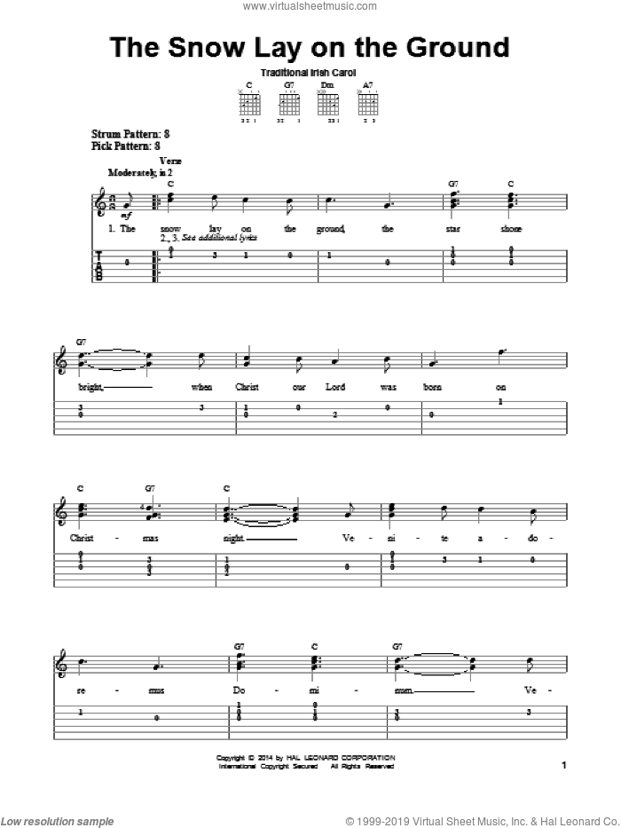 The Snow Lay On The Ground sheet music for guitar solo (easy tablature), easy guitar (easy tablature)