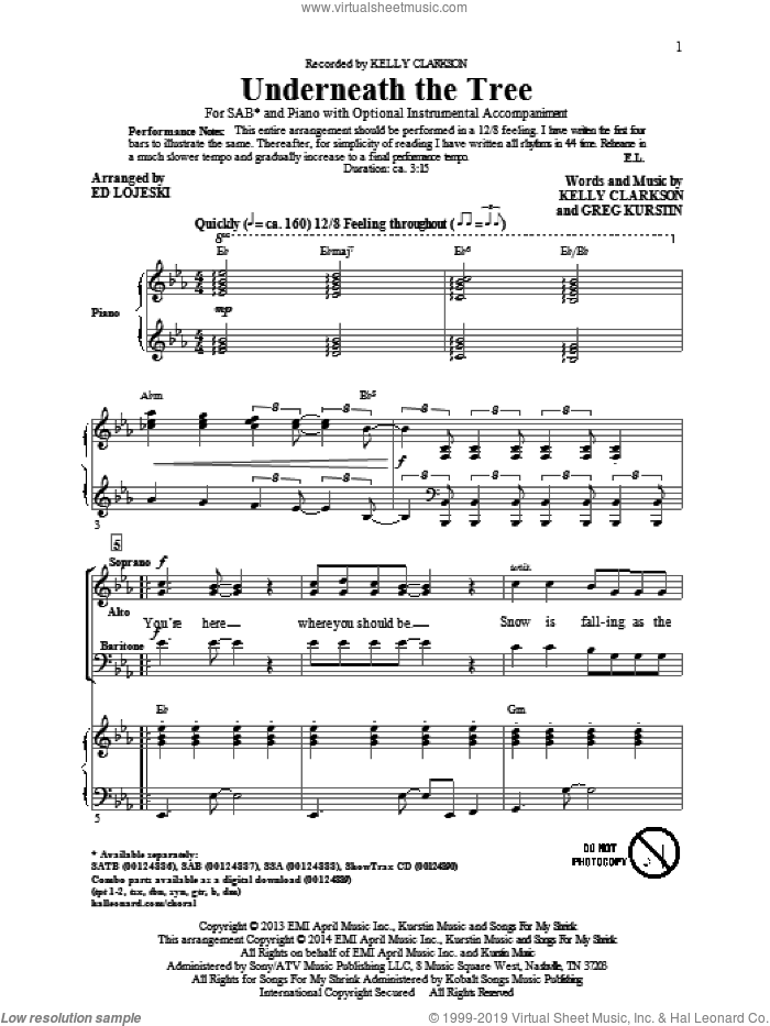 Underneath The Tree sheet music for choir (SAB: soprano, alto, bass) by Ed Lojeski, Greg Kurstin and Kelly Clarkson, intermediate. Score Image Preview.