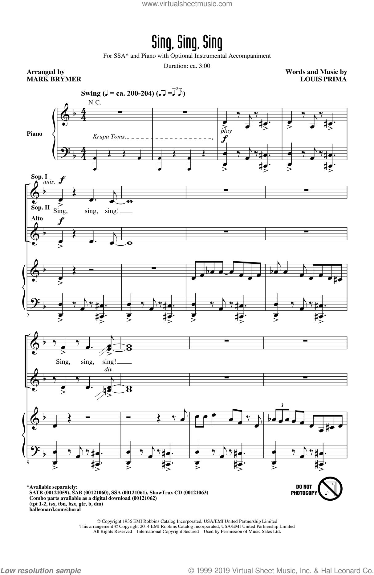 Sing, Sing, Sing sheet music for choir and piano (SSA) by Louis Prima, Benny Goodman and Mark Brymer. Score Image Preview.