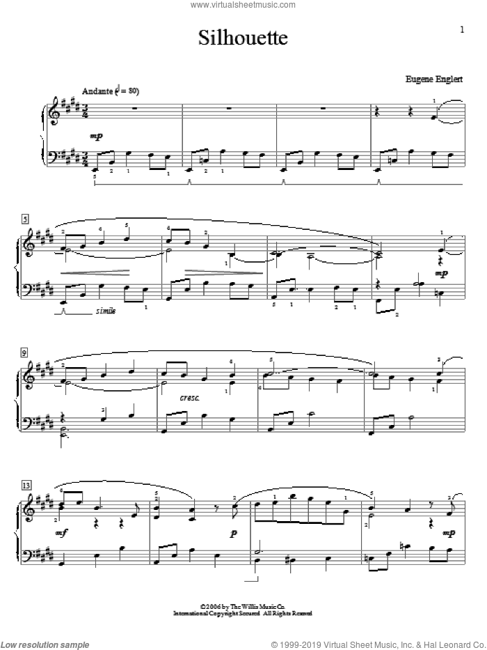 Silhouette sheet music for piano solo (elementary) by Eugene Englert. Score Image Preview.