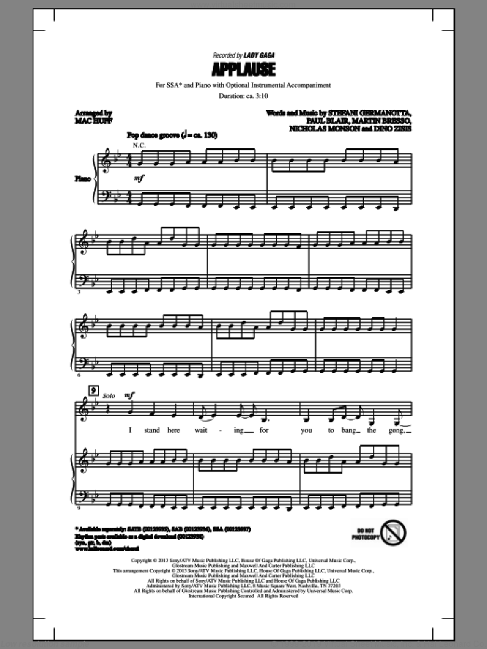 Applause sheet music for choir (SSA: soprano, alto) by Mac Huff, Dino Zisis, Julien Arias, Lady Gaga, Martin Bresso, Nicholas Mercier, Nicholas Monson, Paul Blair and William Grigahcine, intermediate skill level