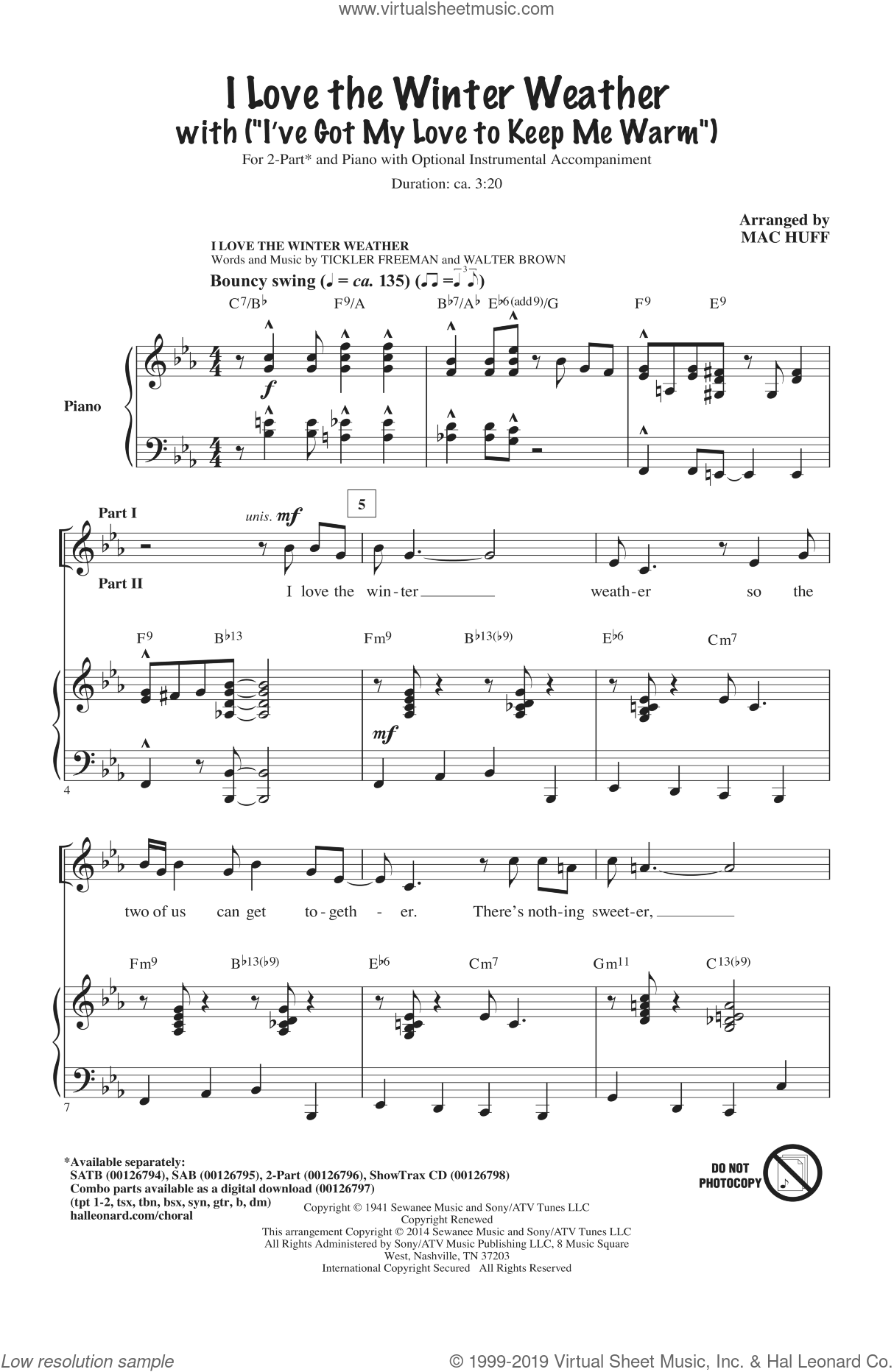I Love The Winter Weather sheet music for choir and piano (duets) by Tickler Freeman, Mac Huff and Tony Bennett. Score Image Preview.