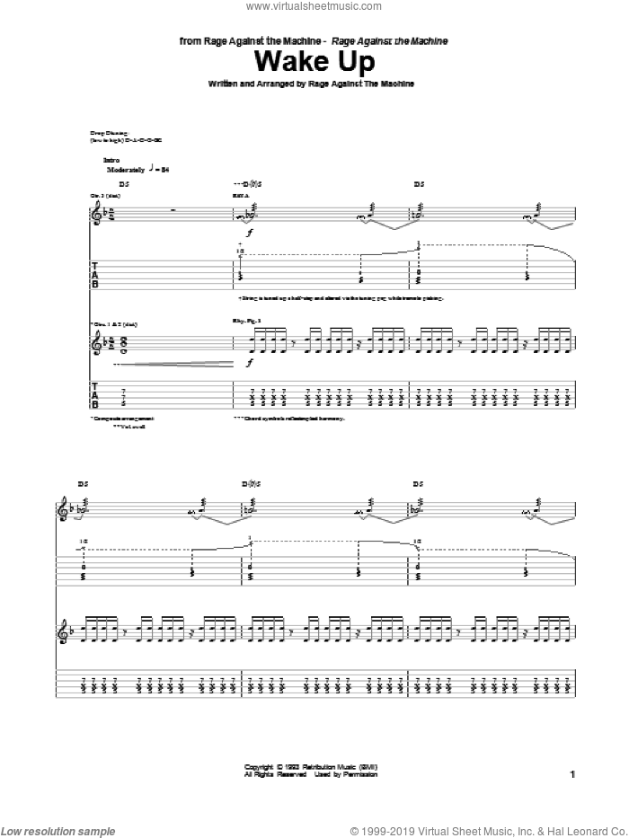 Wake Up sheet music for guitar (tablature) by Rage Against The Machine. Score Image Preview.