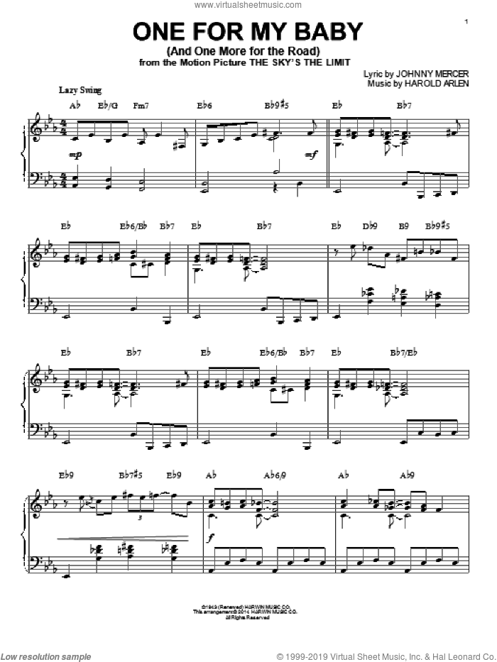 One For My Baby (And One More For The Road) [Jazz version] (arr. Brent Edstrom) sheet music for piano solo by Frank Sinatra, Harold Arlen and Johnny Mercer, intermediate skill level