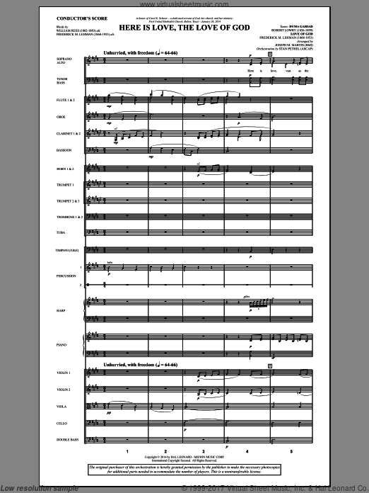 Here Is Love, the Love of God (COMPLETE) sheet music for orchestra by Joseph M. Martin