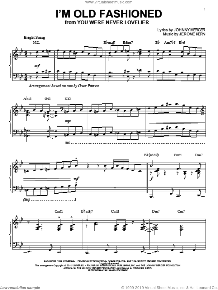 I'm Old Fashioned sheet music for piano solo by Johnny Mercer and Jerome Kern, intermediate skill level