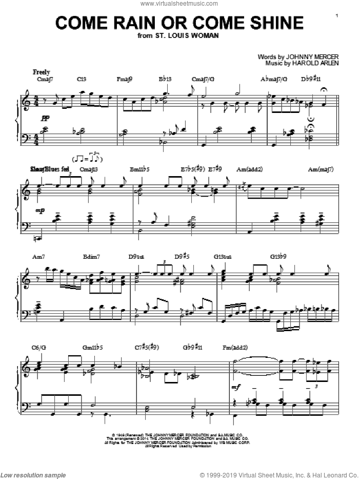Come Rain Or Come Shine sheet music for piano solo by Johnny Mercer and Harold Arlen, intermediate. Score Image Preview.