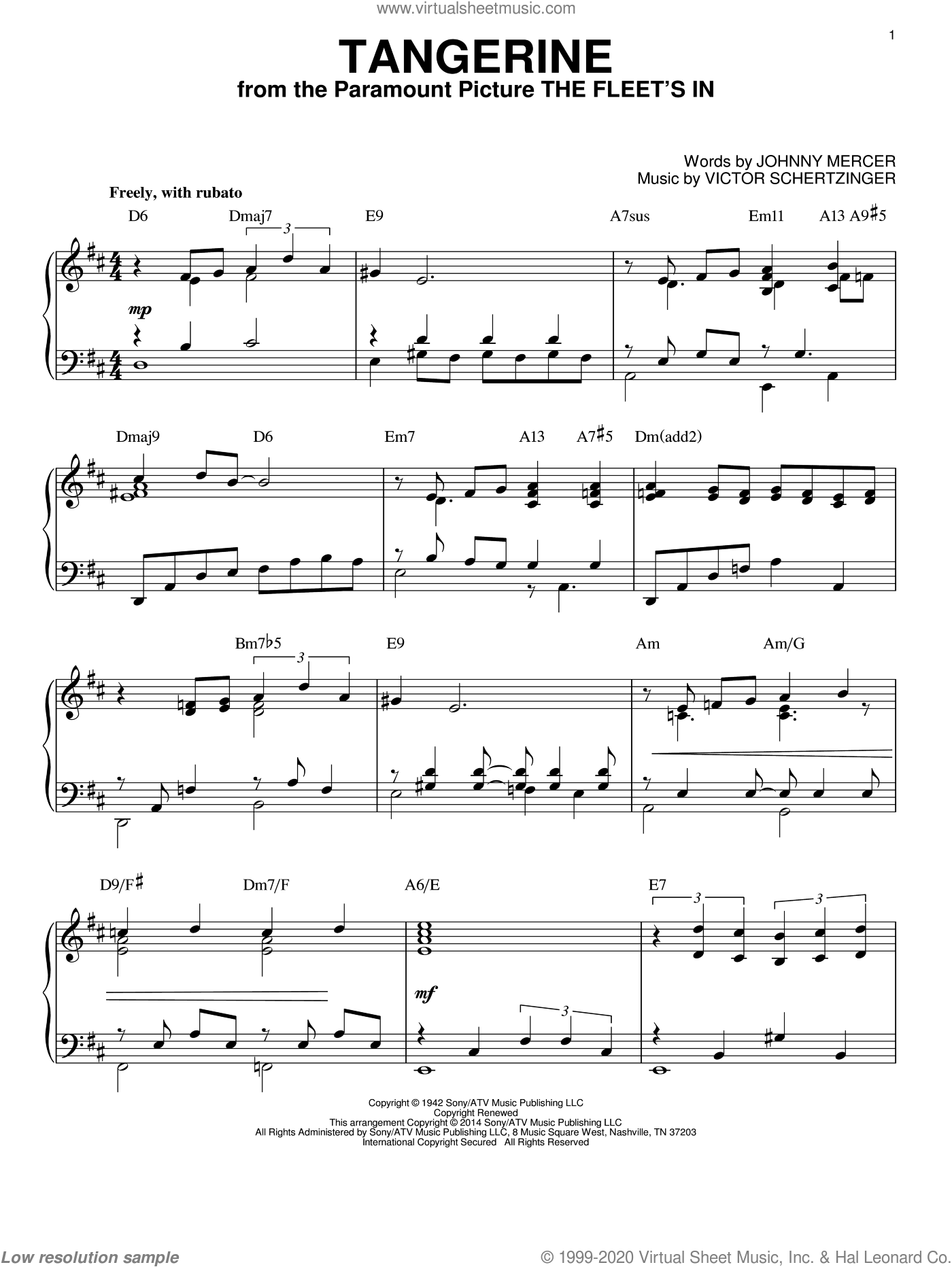 Tangerine [Jazz version] (arr. Brent Edstrom) sheet music for piano solo by Johnny Mercer and Victor Schertzinger, intermediate skill level