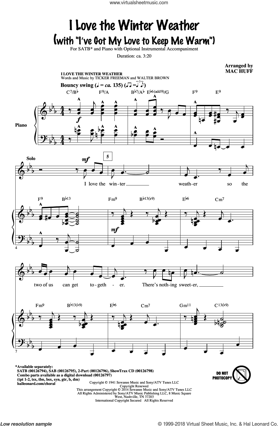I Love The Winter Weather sheet music for choir (SATB: soprano, alto, tenor, bass) by Mac Huff, Tony Bennett, Earl Brown and Tickler Freeman, intermediate skill level