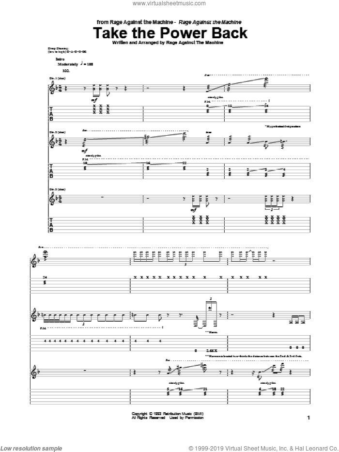 Take The Power Back sheet music for guitar (tablature) by Rage Against The Machine, intermediate guitar (tablature). Score Image Preview.