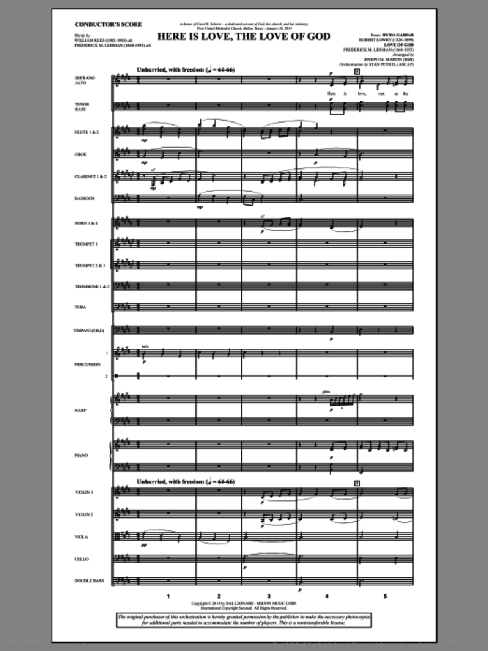 Here Is Love, the Love of God (COMPLETE) sheet music for orchestra/band by Joseph Martin, Frederick M. Lehman and Joseph M. Martin, intermediate