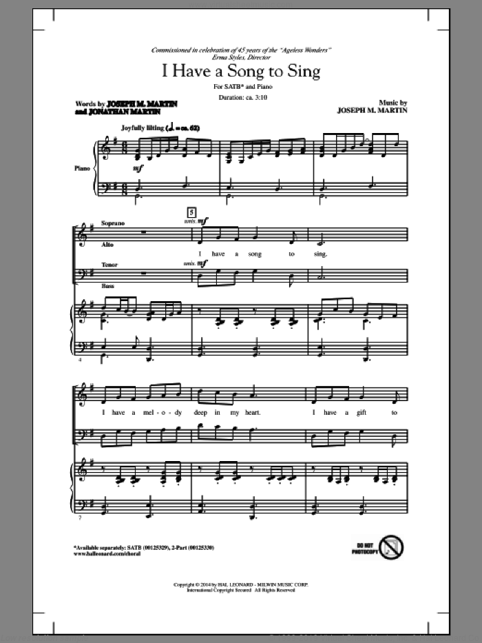 I Have A Song To Sing sheet music for choir (SATB: soprano, alto, tenor, bass) by Joseph Martin and Joseph M. Martin, intermediate. Score Image Preview.