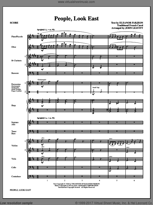 People, Look East (COMPLETE) sheet music for orchestra by John Leavitt